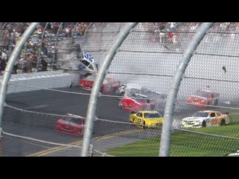 Daytona 300 Crash 2013 Drive 4 COPD Nationwide - Kyle Larson Crashes into Grandstand Fence