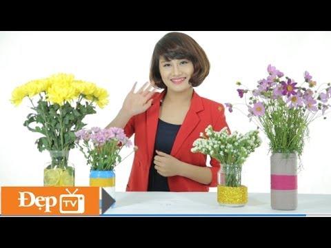 Tái sử dụng lọ thủy tinh cũ thành lọ hoa xinh ngày Tết - Le Media JSC [Official]