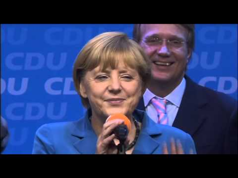 Angela Merkel celebrates victory in German election