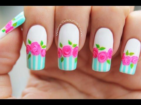 Decoración de uñas rosas vintage - Vintage roses nail art