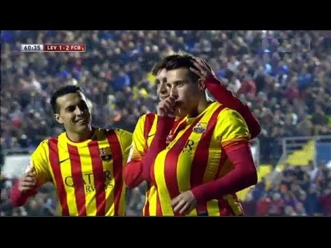 Levante vs Barcelona 1-4 | All Goals & Highlights | Copa del Rey 22/01/2014 Tello hat trick