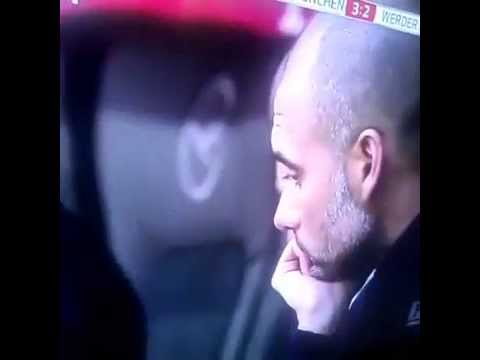 Pep Guardiola Sad for TITO VILANOVA While celebrating his team's third goal 26-04-2014