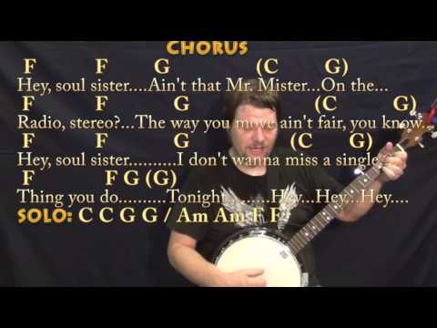 Hey Soul Sister (Train) Banjo Cover Lesson in C with Chords/Lyrics