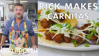 Rick Makes Double-Pork Carnitas and Corn Tortillas   From the Test Kitchen   Bon Appétit
