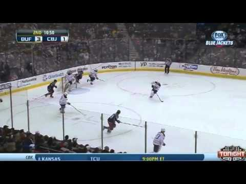 Big Hit - Jack Johnson v Ville Leino - Buffalo Sabres v Columbus Blue Jackets - January 25 2014