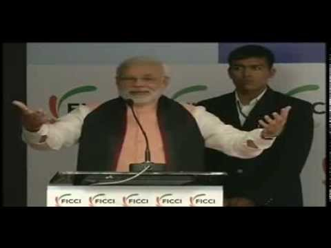 Shri Narendra Modi addressing the FICCI national executive committee meeting in Gandhinagar