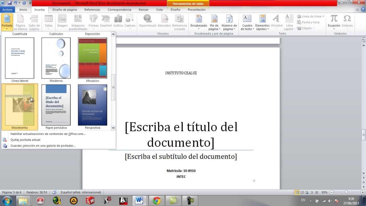 como hacer presentacion en word