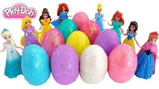 Learn Colors Play Doh Surprise Eggs! Frozen & Disney Princesses Finger Family * RainbowLearning