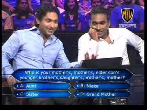 Part 1 of 3 Who wants to be a millionaire with Kumar Sangakkara and Mahela Jayawardene.