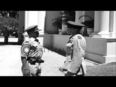 British Air Marshal, Sir Keith Park in front of South East Asia Command headquart...HD Stock Footage