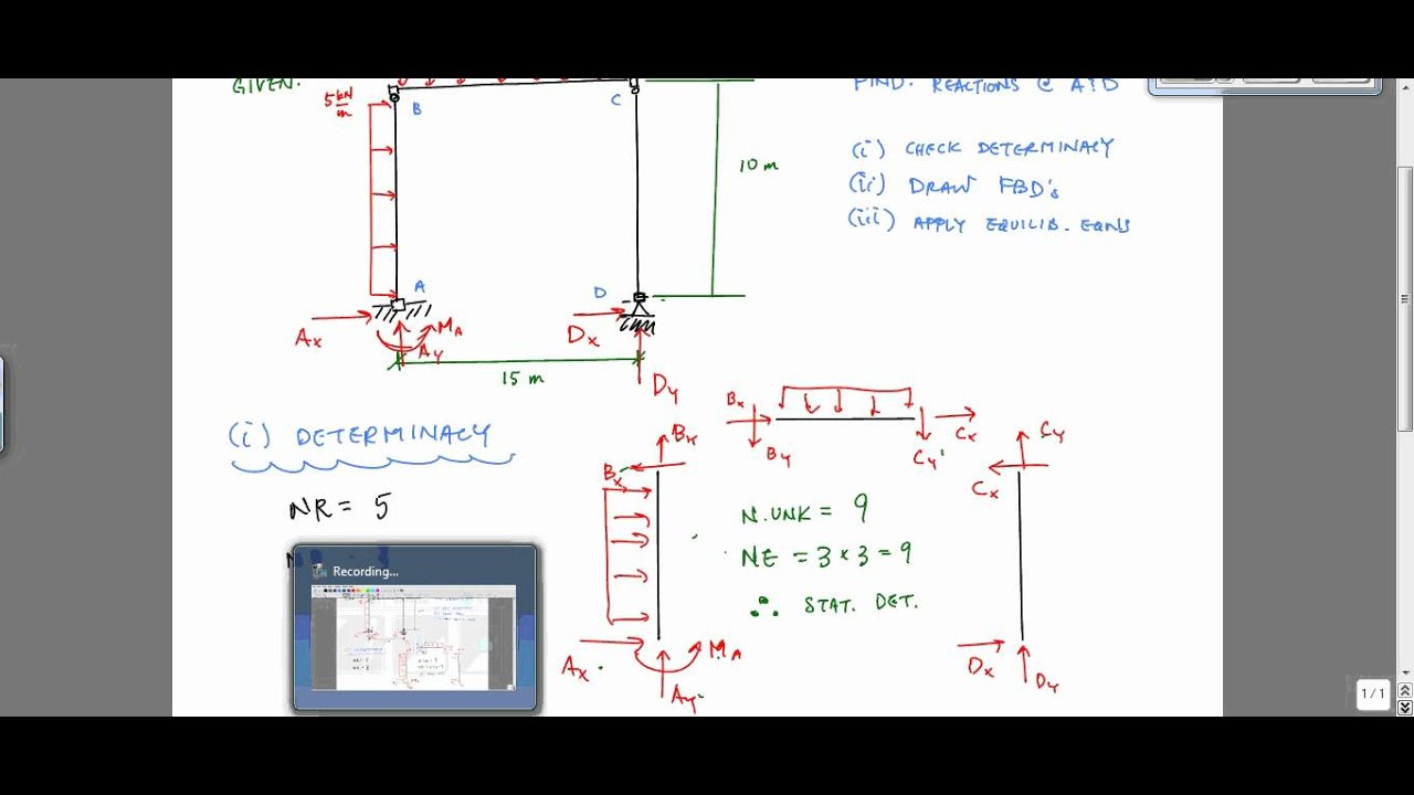 Calculating Reactions Of A Frame Structural Analysis
