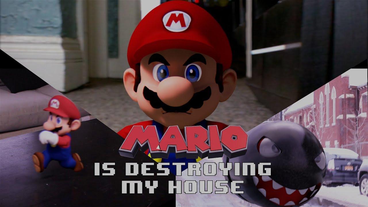 Super Mario détruit l'intérieur d'une maison
