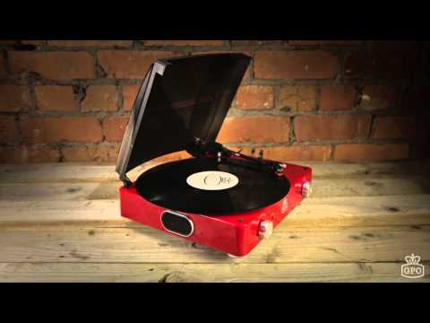 GPO Stylo Retro Turntable Record Player w/ Built in Speakers (Red)
