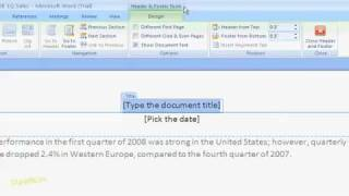 How To Edit Headers And Footers In Word 2007 For Dummies