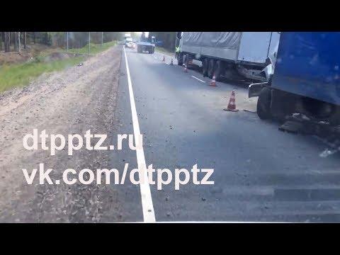 На границе с Ленобластью столкнулись грузовик и автопоезд. Погиб водитель