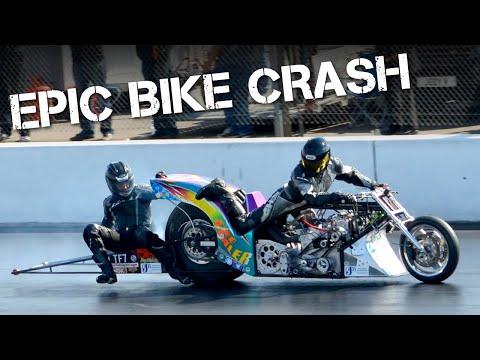 AMAZING Top Fuel Drag Bike Crash at Santa Pod Raceway