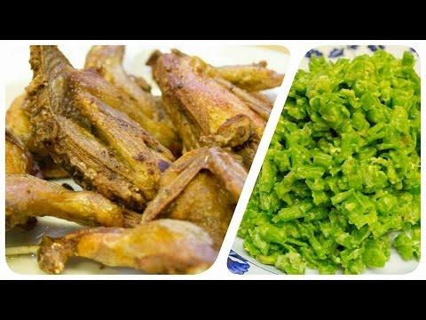 How to make Bok Sondaek with deep fried quail (Cambodian spicy string bean salad)