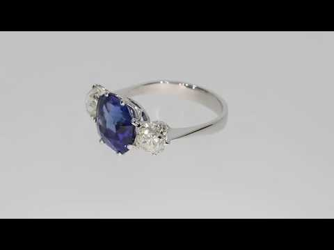Natural blue Sri Lankan Sapphire and diamond three stone ring