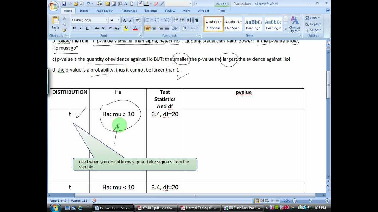 statistics how to find p value