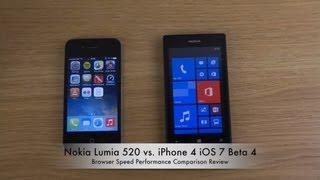 Nokia Lumia 520 Vs. IPhone 4 IOS 7 Beta 4 Browser Speed