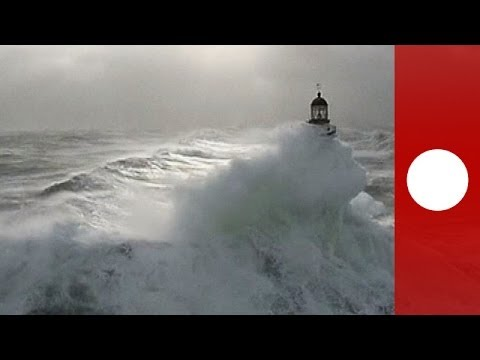 Stunning aerials of storm causing rough seas in Brittany