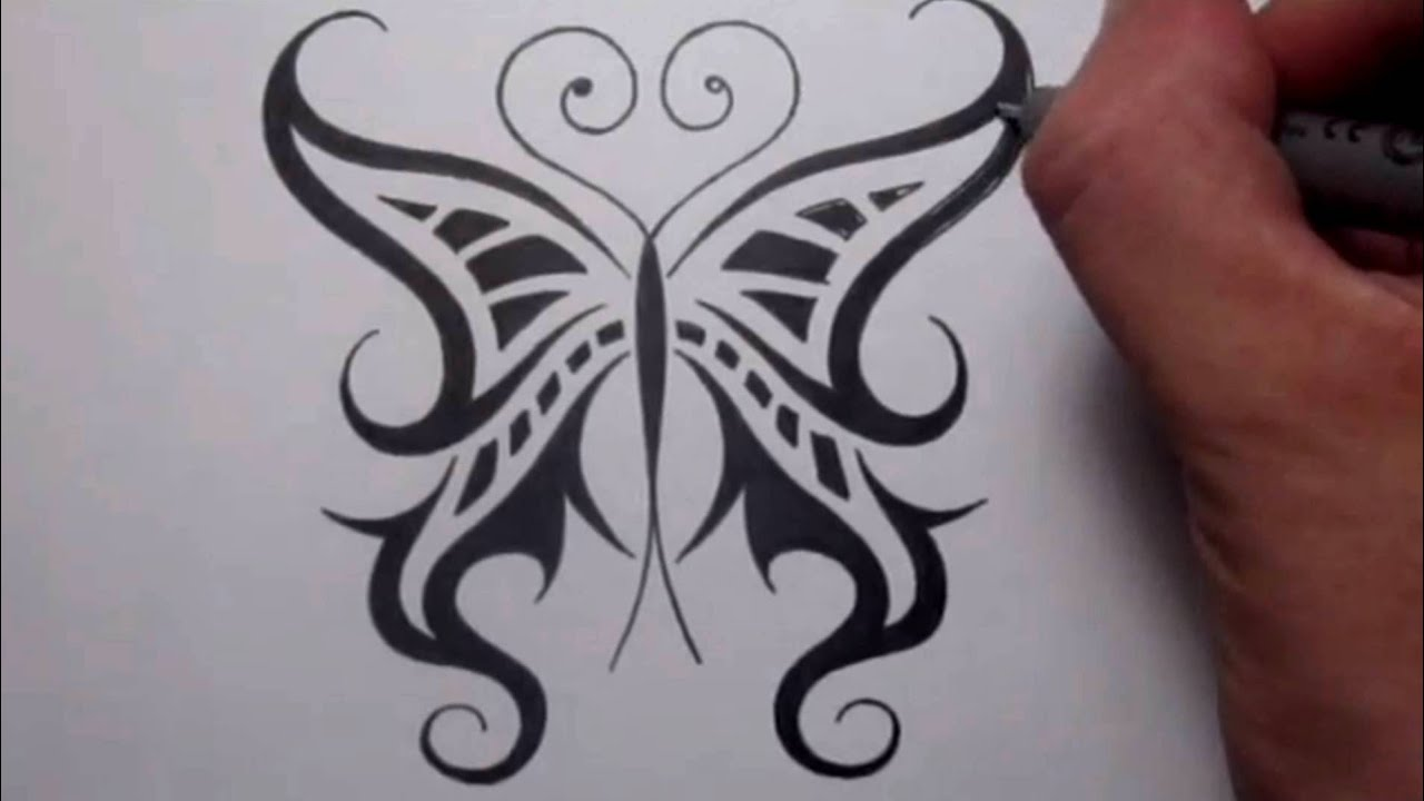 Drawing a cool tribal butterfly tattoo design youtube for Cool drawings of butterflies
