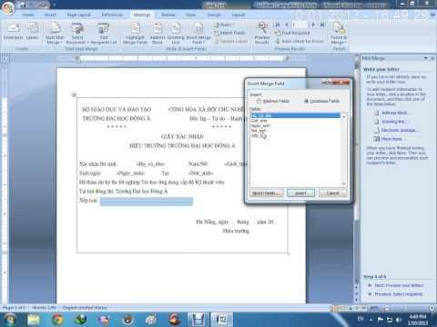 Hướng dẫn trộn văn bản trên word 2007