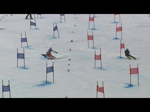 Confident Austria slide into first! -- Innsbruck 2012 Alpine Skiing Mixed Parallel Team