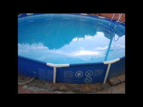 Construindo a piscina intex em casa youtube for Piscinas rectangulares intex