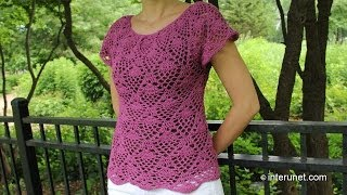 Crochet Pineapple Stitch Blouse Part 1 Of 2