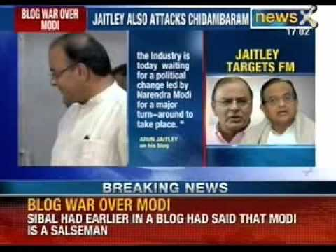 Breaking News: Blog war over Narendra Modi; Arun Jaitley blog attack on P. Chidambaram - NewsX