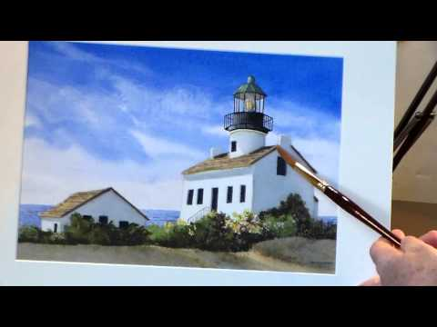 Successful Elements of a Completed Watercolor Lighthouse Painting