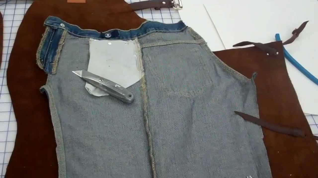 Steps in making children's western leather chaps