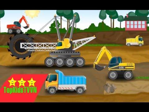 Topkidstvvn-Xe máy xúc ,ô tô ,cần cẩu hoạt hình-Live Kids Puzzles:Cars-Excavator-Truck