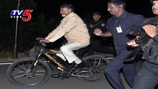 Exclusive : AP CM Chandrababu Goes Camp Office on Bicycle ..
