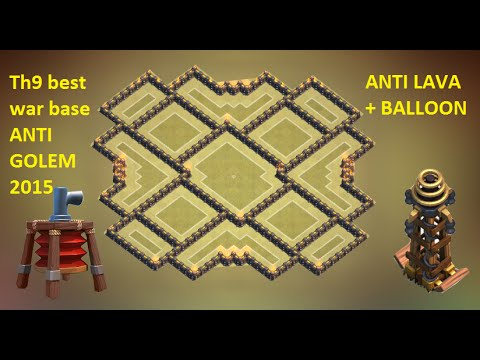 Clash of clans - Best Town hall 9 (th9) war base TOP TEN 2015 + Replay ANTI gowipe, Lava & Balloon