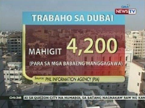 BP: Mahigit 4,200 female workers, kailangan sa Dubai