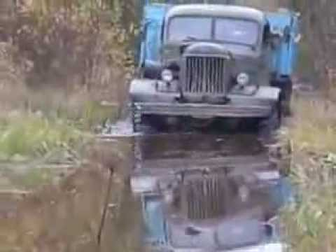 Russian old time truck ZIL-157 in  off-road