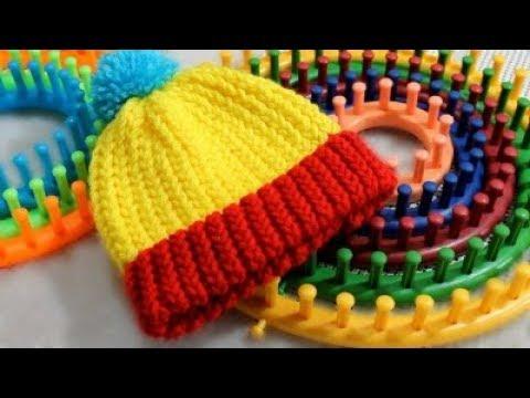 Gorro Tejido con Telar Redondo / Circular - FACIL !- Loom Knit Hat in Spanish