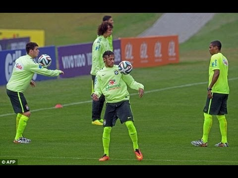 Neymar and Marcelo Training with Brazuca Ball World Cup 2014