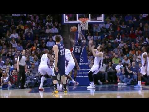 Marc Gasol gets the perfect inside pass to Z-Bo who converts quickly - Grizzlies @ Bobcats 22-2-14