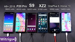 OnePlus 6 Dash Charger | P20 Pro vs S9 vs OnePlus 6 vs XZ2 vs A8+ 2018 vs Honor 10 Battery Test