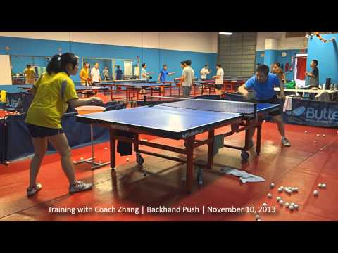 Training with Coach Zhang: Over-the-table backhand push