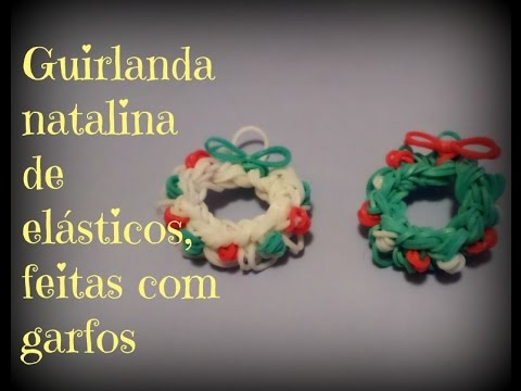 Guirlanda natalina feitas de elásticos,com garfos