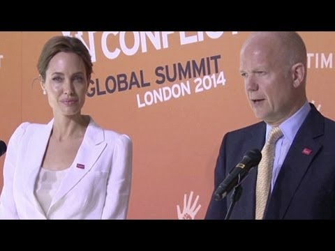 Angelina Jolie & William Hague at Sexual Violence Summit - (June 13, 2014)