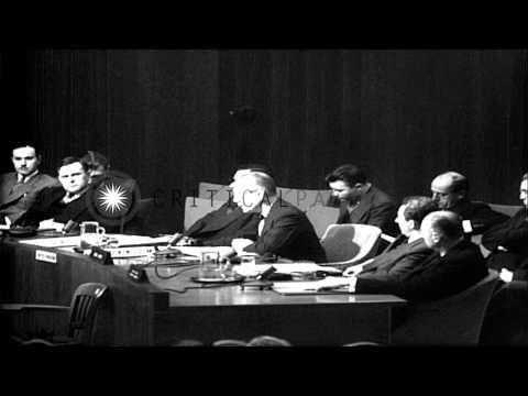 At a UN Security Council session held in Lake Success, Alexander Cadogan speaks a...HD Stock Footage