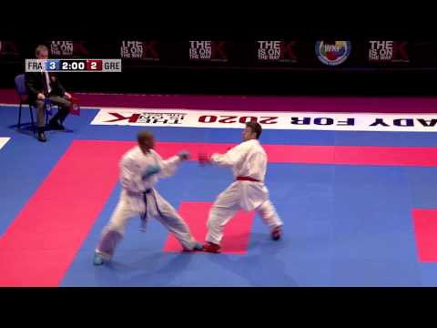 Kenji Grillon vs Georgios Tzanos. Final Kumite Male -84kg. 48th European Karate Championships