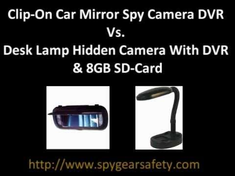 clip on car mirror spy camera dvr vs desk lamp hidden camera with dvr 8gb sd card youtube. Black Bedroom Furniture Sets. Home Design Ideas
