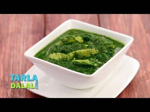 Palak Baby Corn Subzi (Low Calorie) by Tarla Dalal