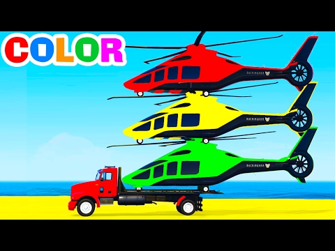 FUN HELICOPTER on Truck  Cars Spiderman Cartoon for Children  Colors for Kids w Nursery Rhymes